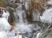 Winter im Bayerischen Wald - Wasserfall mit Eiskristallen