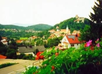 Ausblick von der Terrasse und den Zimmern auf den Markt Falkenstein und die Burg Falkenstein