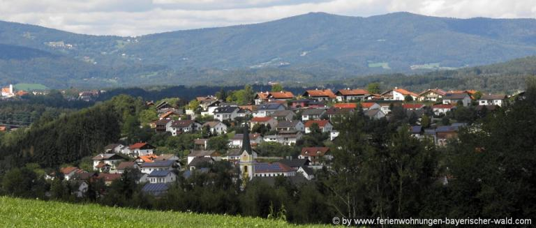 unterkunft-aicha-vorm-wald-ferienort-dorfansicht-berge-bayerwald